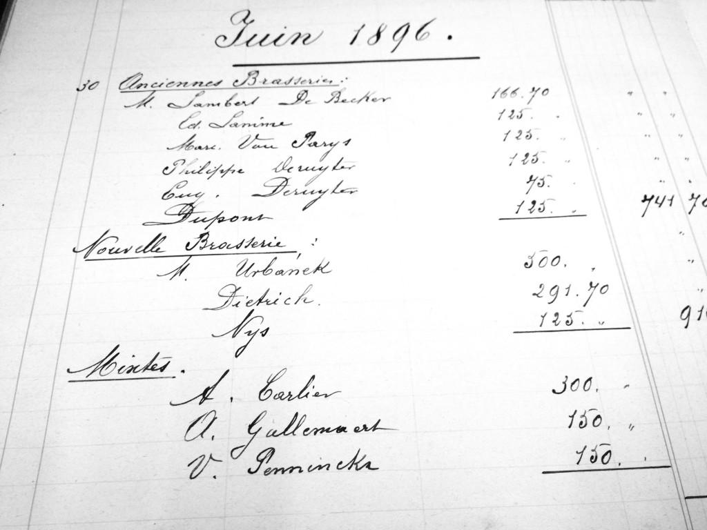 Artois Payroll June 1896